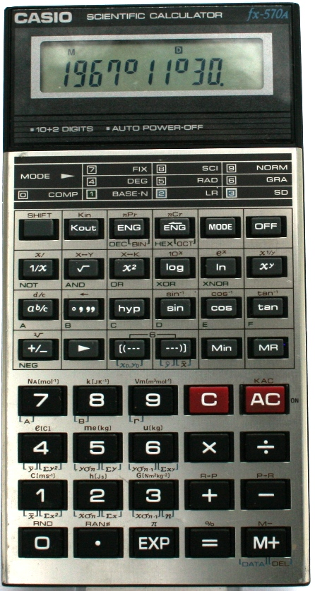 CASIO fx-570A - Ordinateurs de poche & Calculatrices Casio - PB FX CFX- Pockets ...