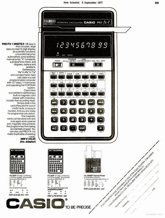 Casio pro fx 1 casio pocket computers calculators collector pb ads in the scientist 1977 ccuart Choice Image